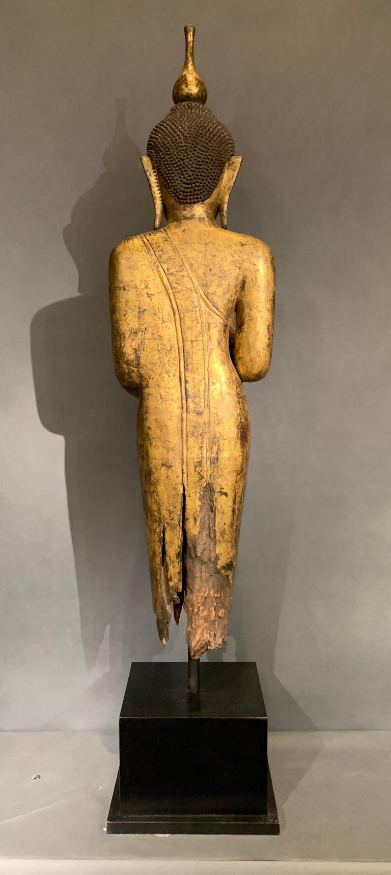 Shan Burmese Carved and Giltwood Standing Buddha, Early 20th Century In Fair Condition In Austin, TX