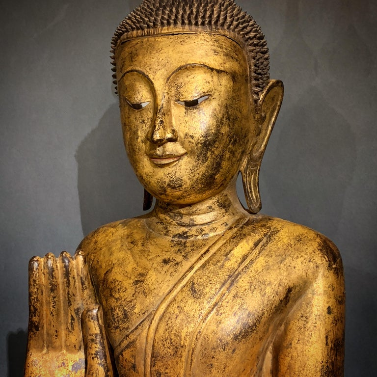 Shan Burmese Carved and Giltwood Standing Buddha, Early 20th Century 3