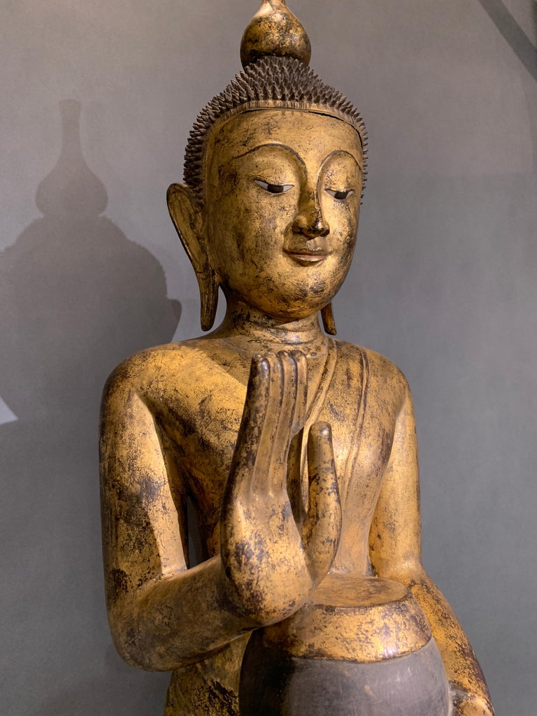 Shan Burmese Carved and Giltwood Standing Buddha, Early 20th Century 4