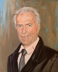 """""""Clint Eastwood"""" oil on board Portrait by Shana Wilson"""