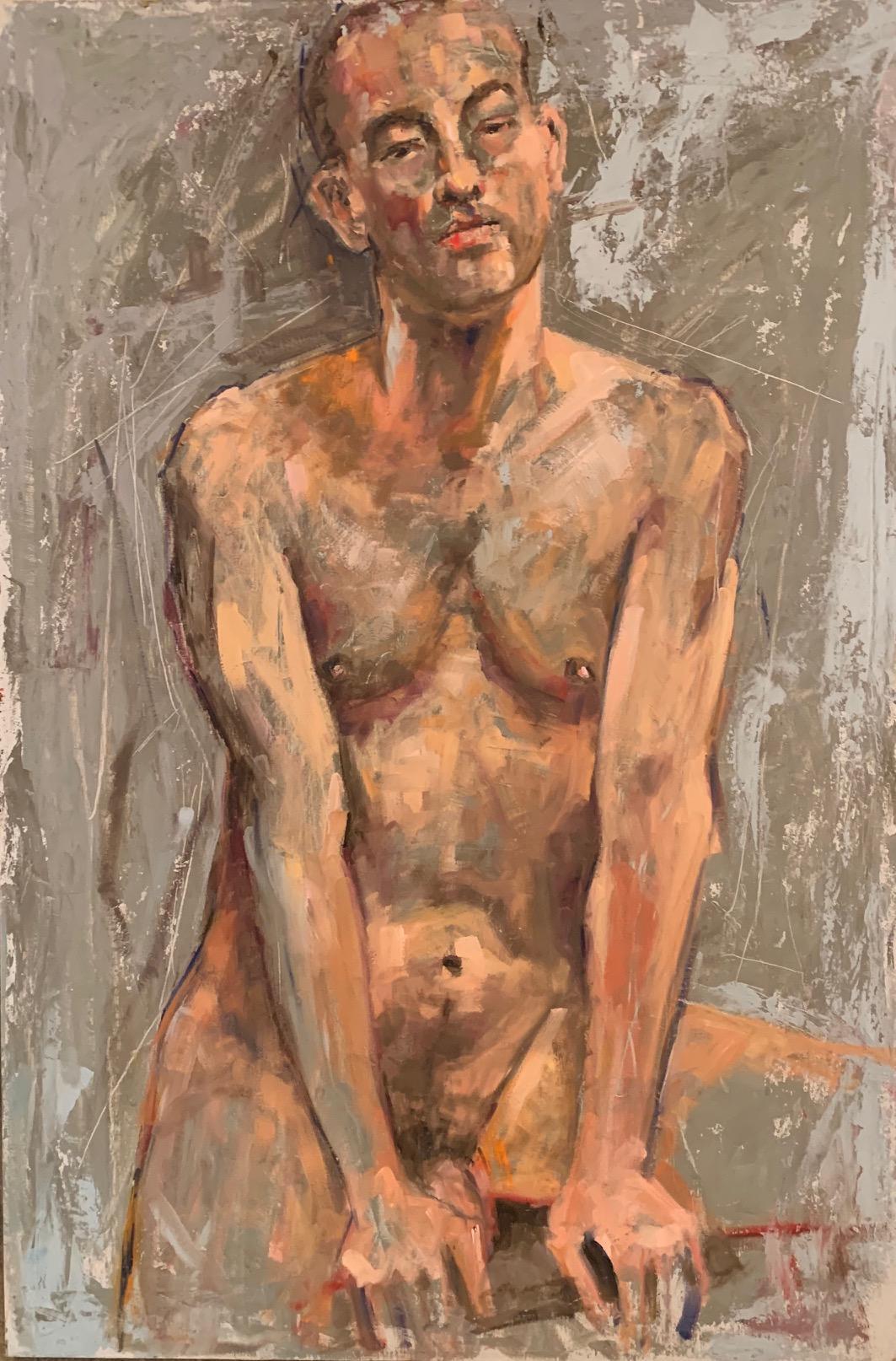 'Male Figure Nude' oil on canvass by Shana Wilson