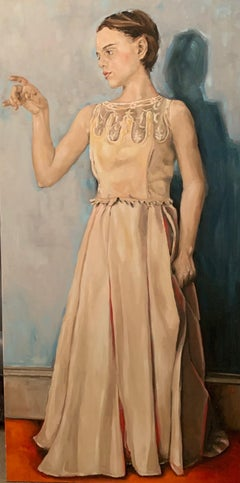 """""""Women with a white dress"""" oil on canvas by Shana Wilson"""