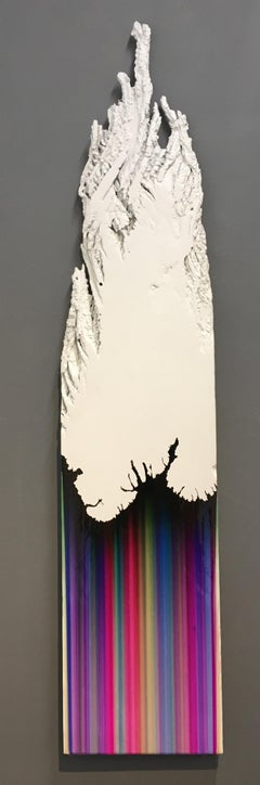 Hickory Two, Vertical Ballpoint and Resin Abstract Painting on White Wood Slice