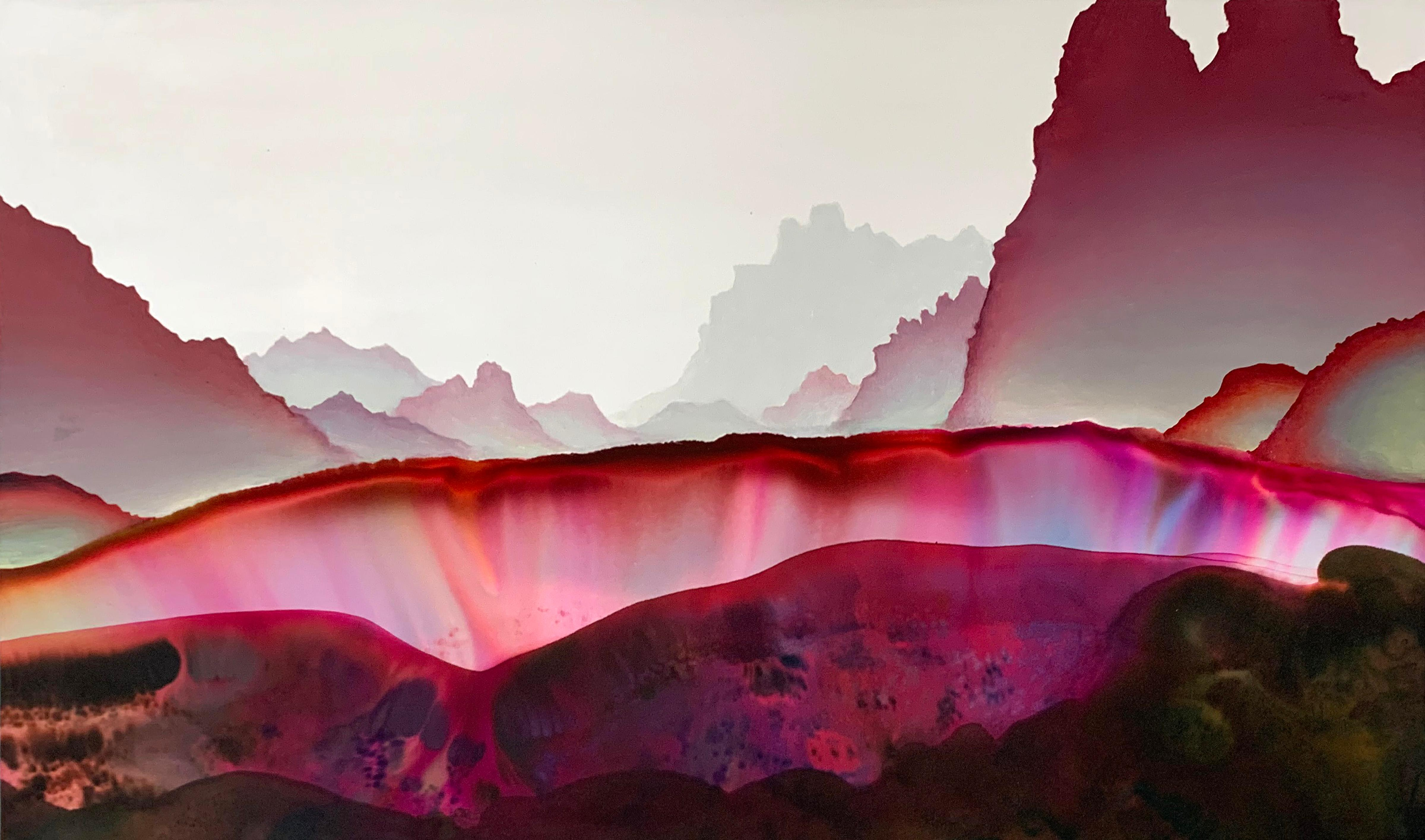 Her Compliments, Horizontal Abstract Landscape in Pink, Dark Red, Brown, White