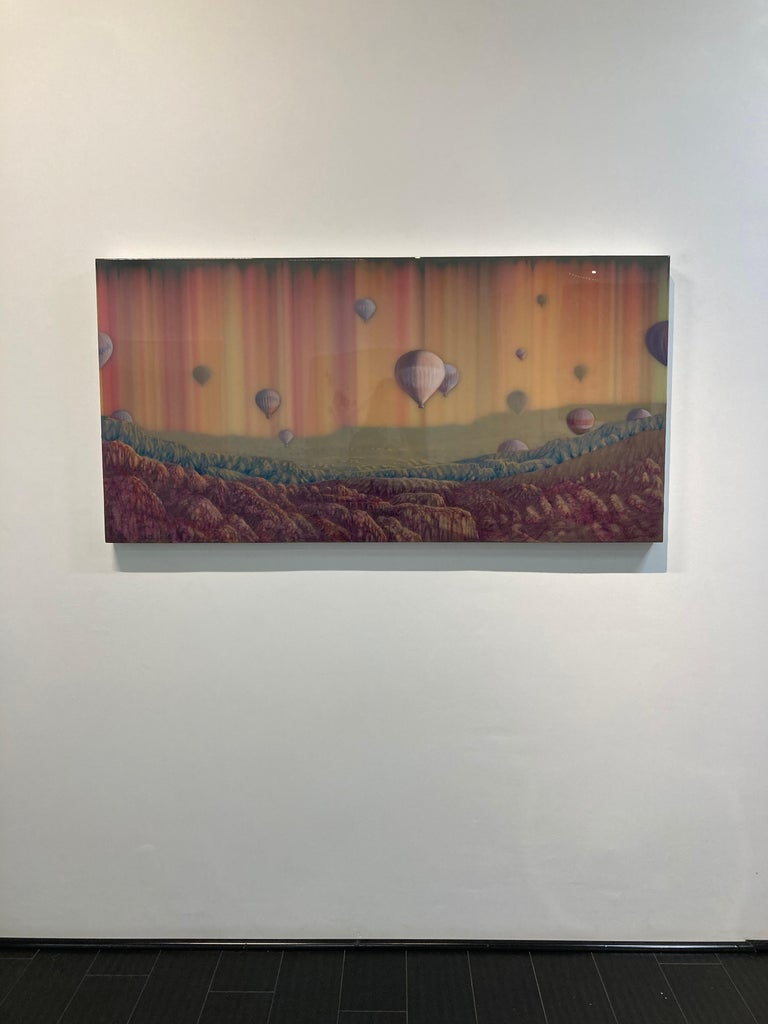 Hot Air, Horizontal Abstract Landscape with Hot Air Balloons in Pink Blue Yellow For Sale 5