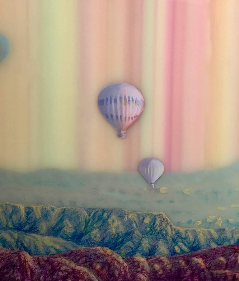Hot Air, Horizontal Abstract Landscape with Hot Air Balloons in Pink Blue Yellow - Contemporary Painting by Shane McAdams