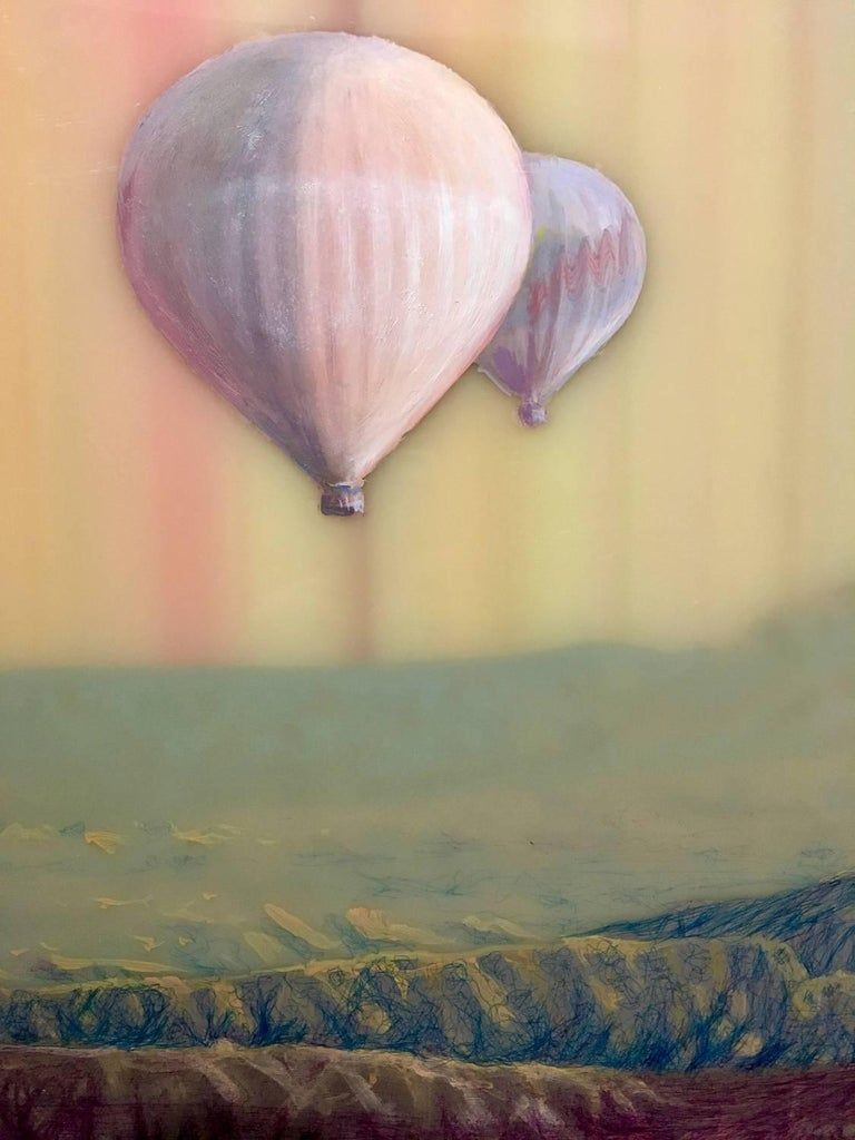 Hot Air, Horizontal Abstract Landscape with Hot Air Balloons in Pink Blue Yellow - Brown Landscape Painting by Shane McAdams