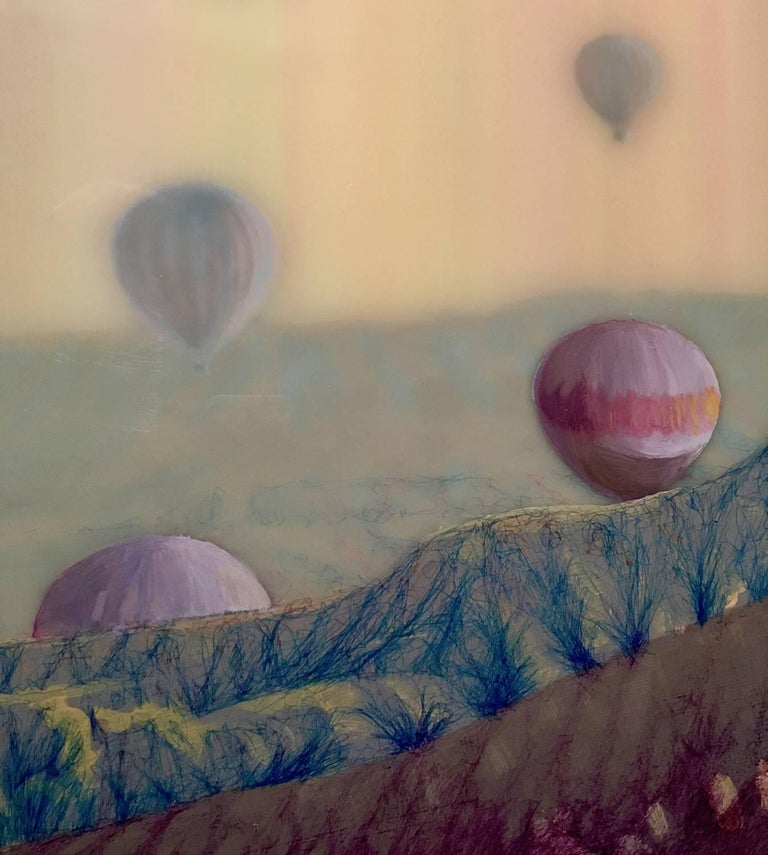Hot Air, Horizontal Abstract Landscape with Hot Air Balloons in Pink Blue Yellow For Sale 1