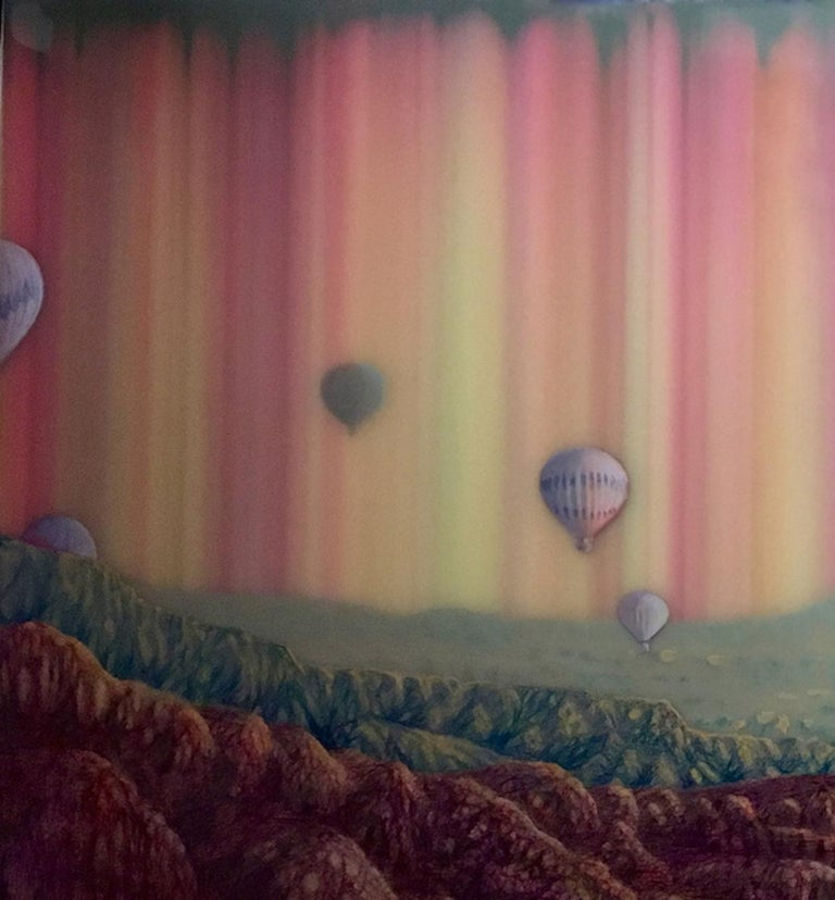 In this horizontal landscape painting on panel, a sense of wonderment and whimsy is conveyed in McAdams' blending of fantasy and realism. The artist's unique ballpoint ink process creates striations of bright pink, blue, and yellow in vertical