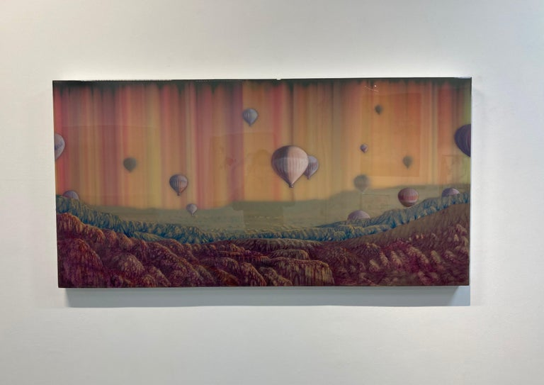 Hot Air, Horizontal Abstract Landscape with Hot Air Balloons in Pink Blue Yellow For Sale 4