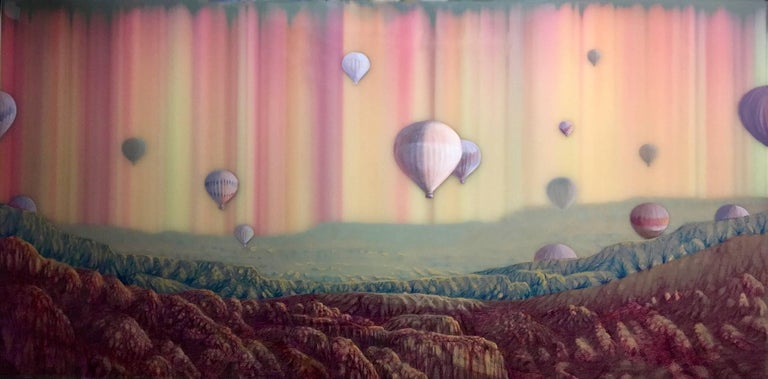 Shane McAdams Landscape Painting - Hot Air, Horizontal Abstract Landscape with Hot Air Balloons in Pink Blue Yellow