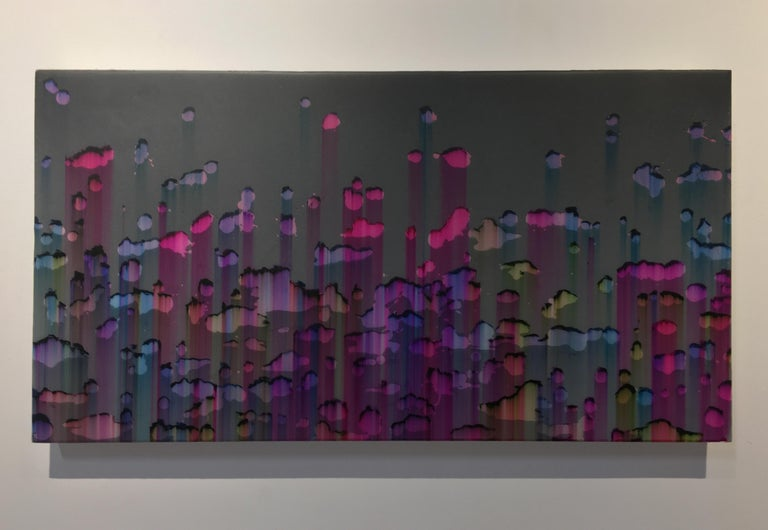 Untitled Pen Blow Two, Horizontal Abstract Ballpoint and Resin, Pink Blue Yellow - Painting by Shane McAdams