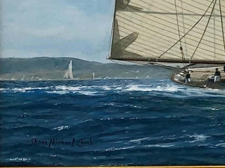 Yachts Racing off Newport, 1911 - Victorian Painting by Shane Michael Couch