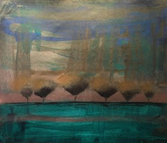 """Slow Dream"" Acrylic on Canvas Mid Century Modern Landscape by Shane Townley"