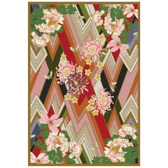 Shanghai Blossom Hand Knotted Wool and Silk Rug by Wendy Morrison