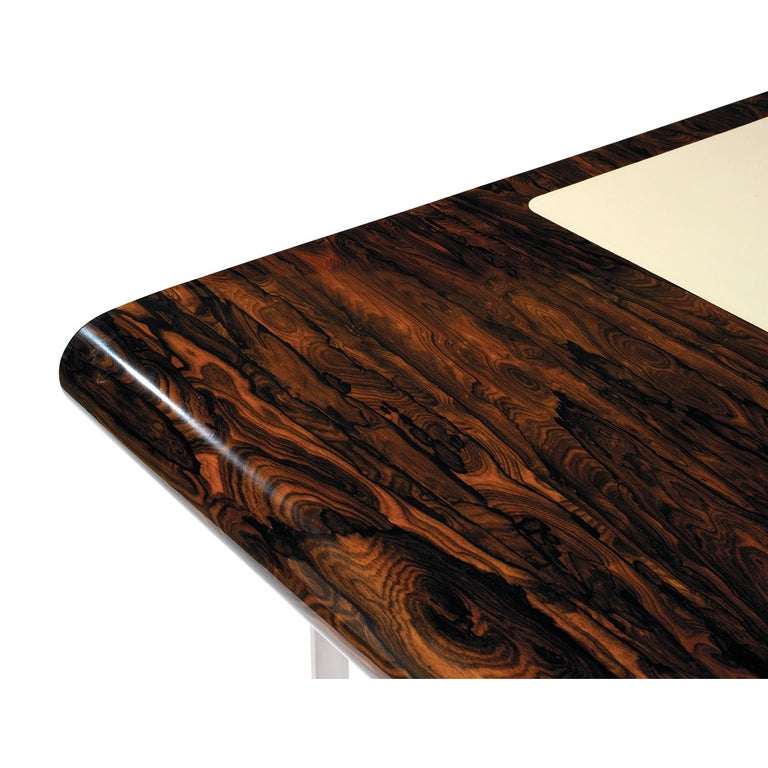 Modern Shanghai Desk in Ziricotte Wood, Leather Top and Silver Patined Leg For Sale