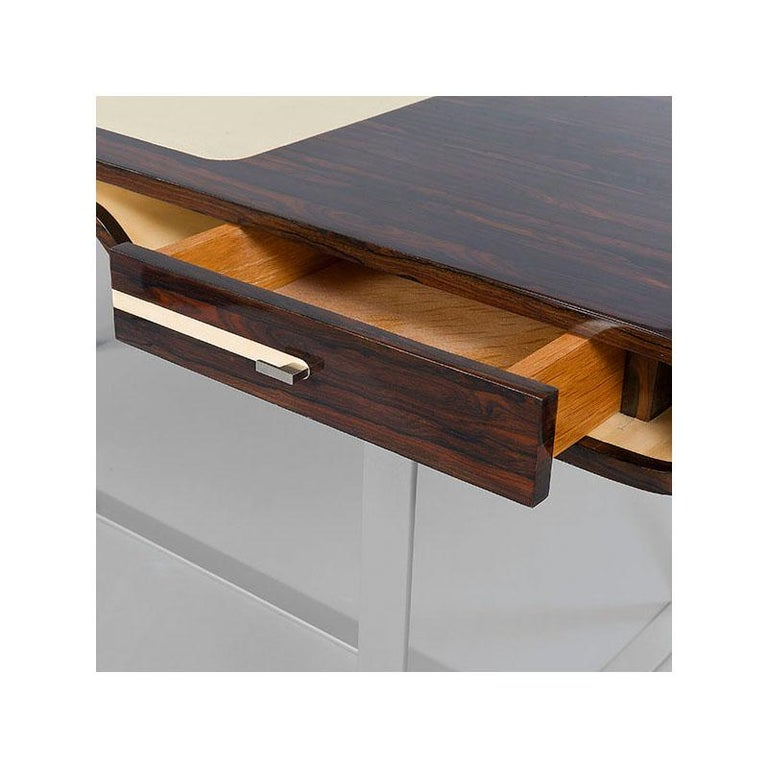 Marquetry Shanghai Desk in Ziricotte Wood, Leather Top and Silver Patined Leg For Sale