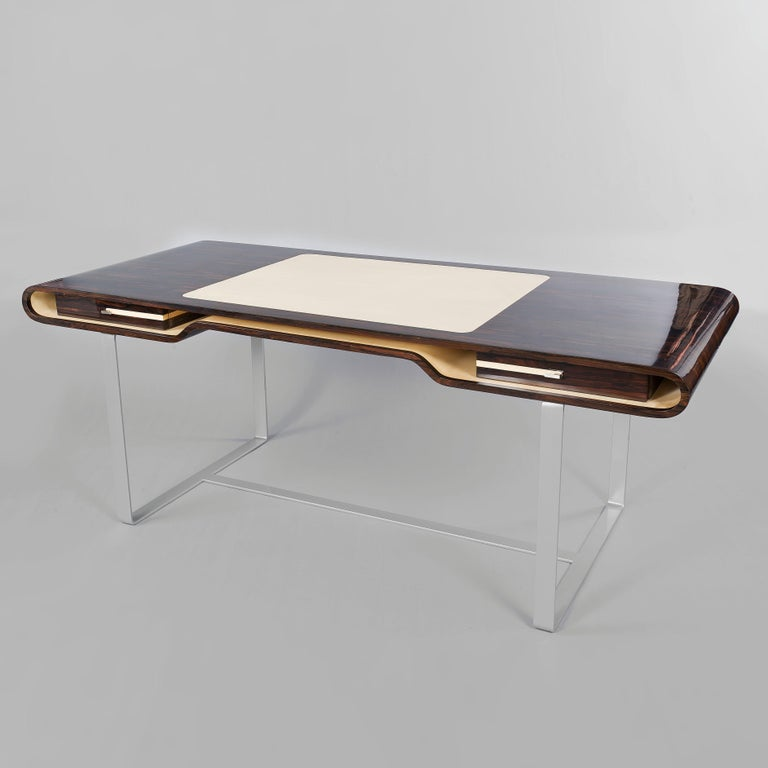 Contemporary Shanghai Desk in Ziricotte Wood, Leather Top and Silver Patined Leg For Sale