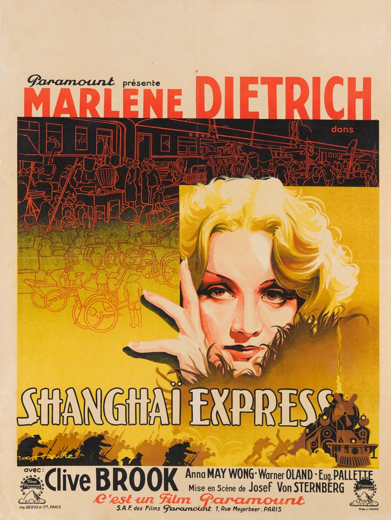 Framed Original French film poster for Shanghai Express, 1932.