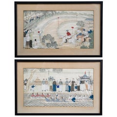 """Shanghai Race and Rowing Club"" Pair of Chinese Silk Paintings"