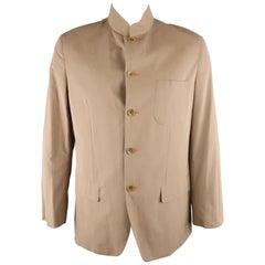 SHANGHAI TANG L Khaki Solid Cotton Nehru Collar Jacket