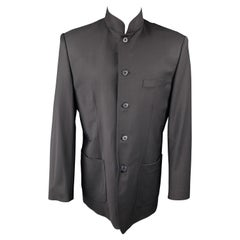 SHANGHAI TANG Long Black & Red Pinstripe Wool Blend Nehru Collar Sport Coat
