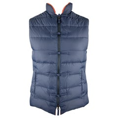 SHANGHAI TANG Size 38 Navy Quilted Nylon Full Zip Frog Buttons Vest