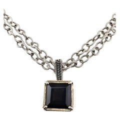 Shannon Diego 2001 Sterling Silver 14K Yellow Gold & Smokey Topaz Link Necklace