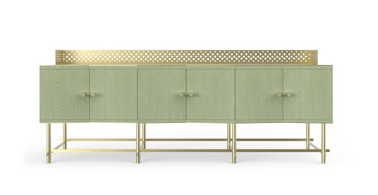 Closed buffet/cabinet with doors, in fabric-effect wood. Lifted above the ground by a metallic structure composed by metal laser-cut interlocking tubes and adjustable feet. Laser-cut metal sheet with flower motifs finished by hand.