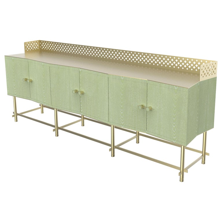Shanti II Luxury Cabinet in Fabric Effect Wood, Jewel Handels, Made in Italy For Sale