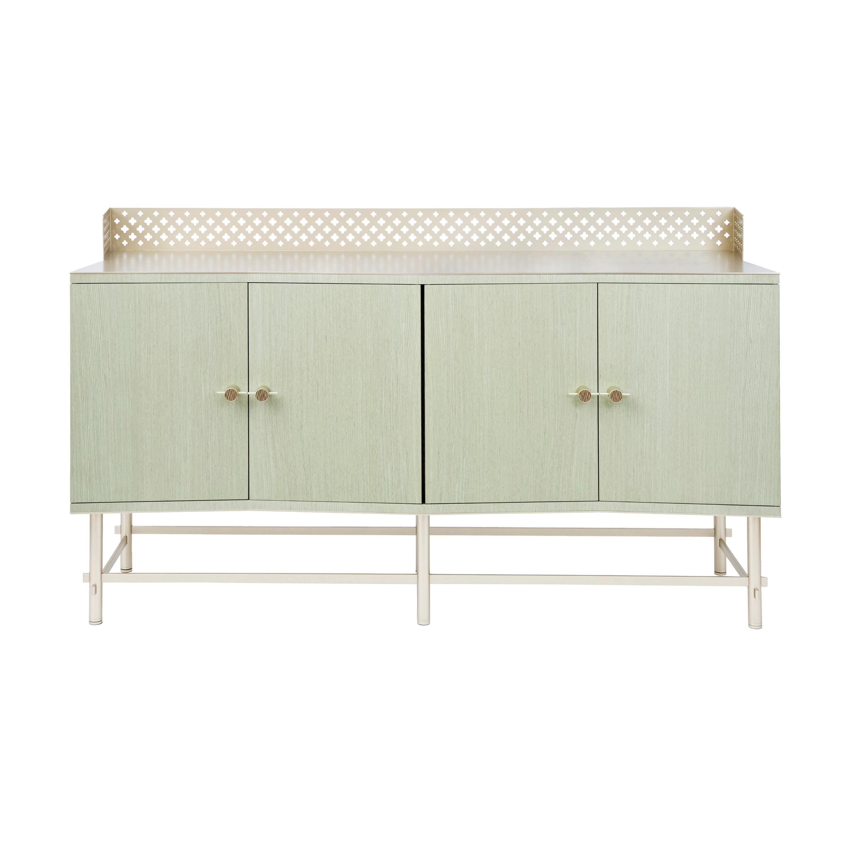Shanti Luxury Artisanal Cabinet, Metal Structure, Jewel Handles & Fabric Effect