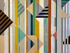 """""""Appalachian Spring"""", acrylic, mixed media, abstract, geometric, triangles"""