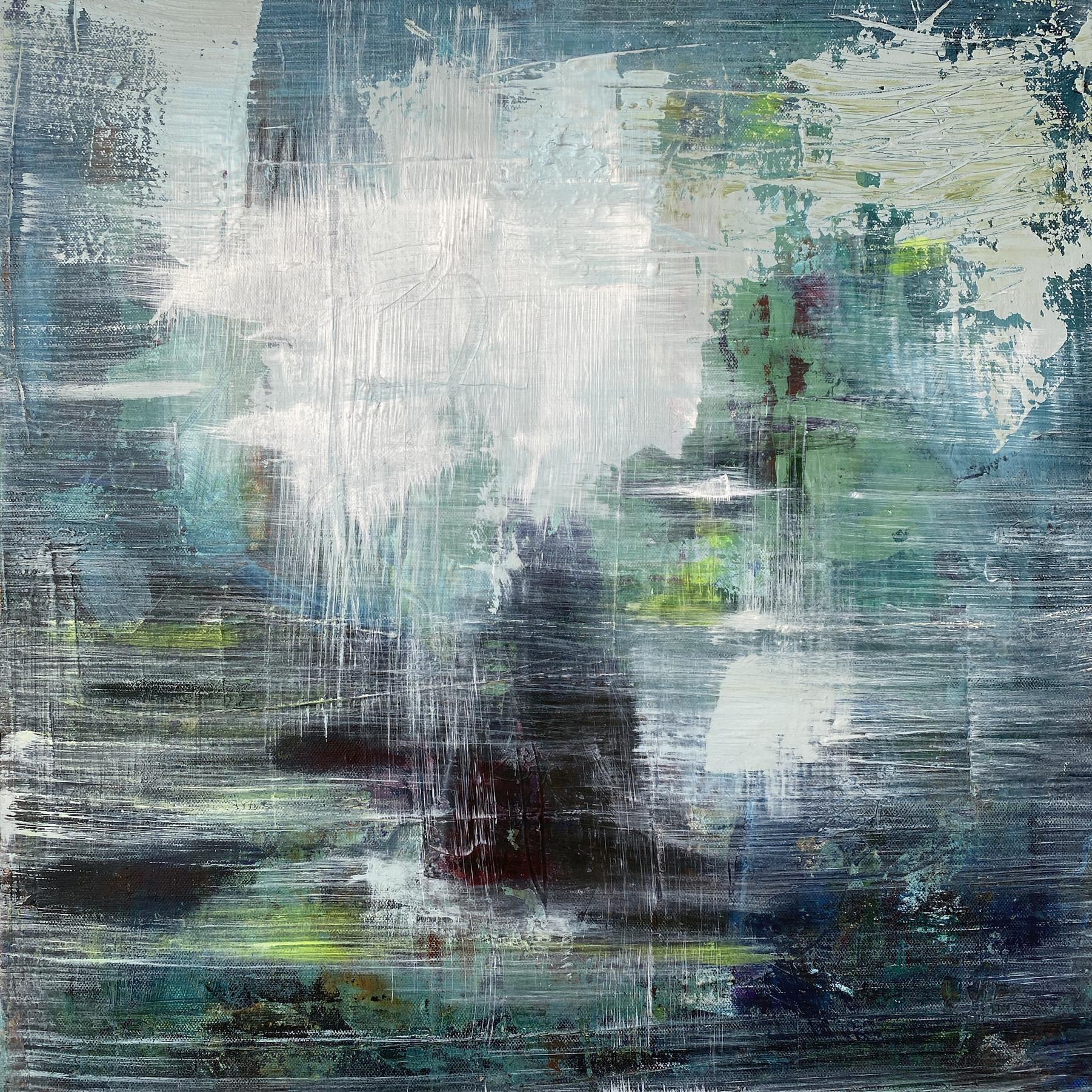 """""""Chopin Nocturne Op 9 No 2"""", mixed media, abstract, landscape, blue, green"""