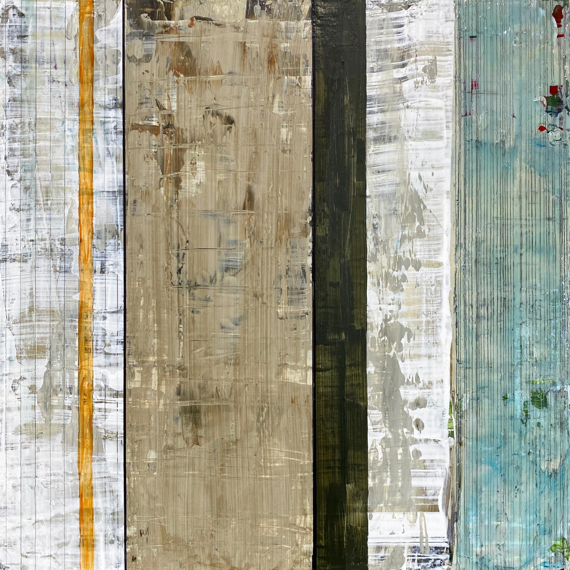 """Kiwanuka-Father's Child"", abstract, acrylic painting, graphite, blue, white"