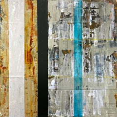 """Kiwanuka-Home Again"", abstract, acrylic painting, graphite, blue, rust, green"