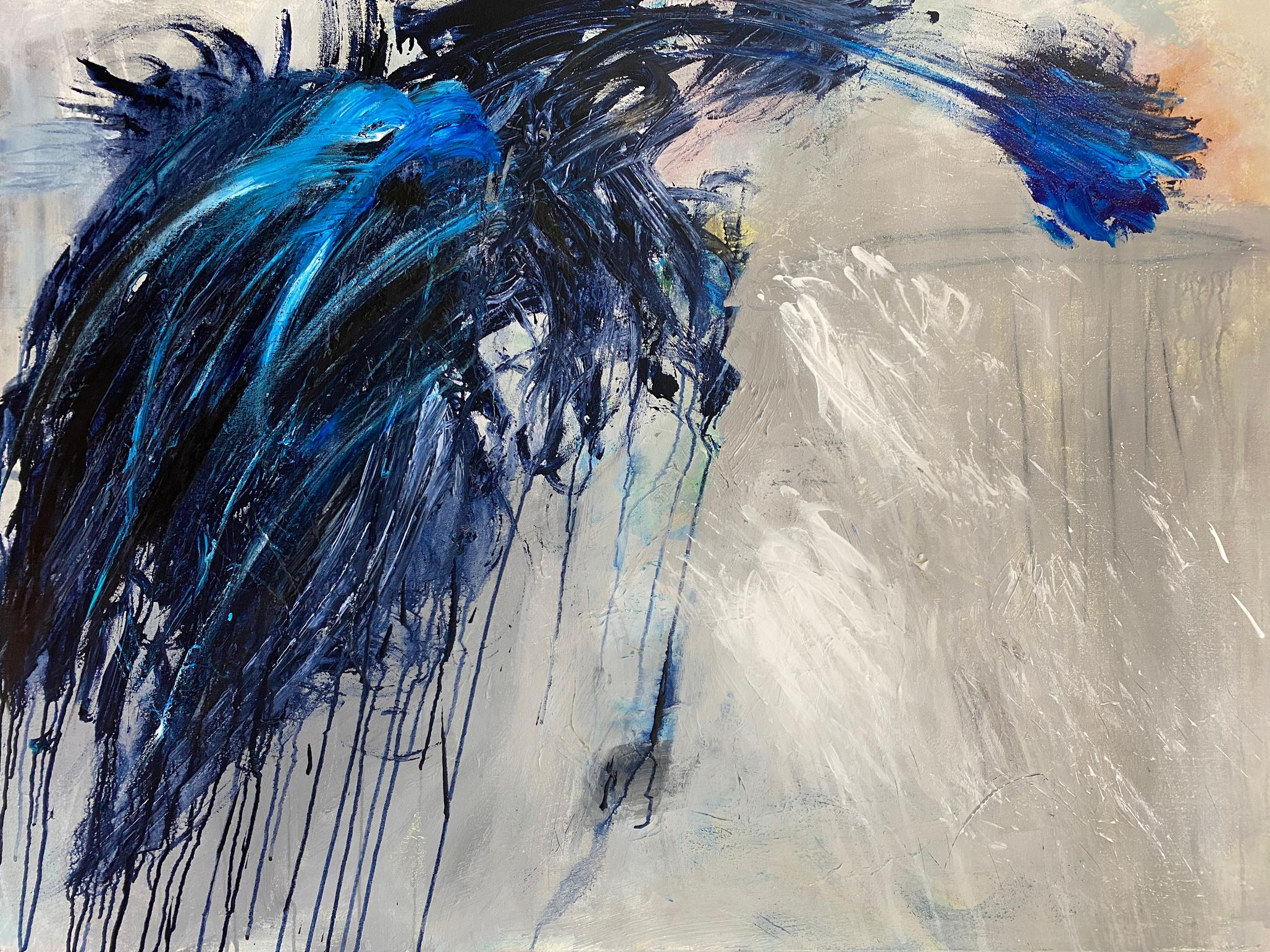 """""""The Conflict"""", Brahms, abstract, acrylic painting, bold, blues, greys"""