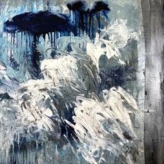 """Translation 1 Debussy Sonata 1"", acrylic, abstract, landscape, blue, grey"