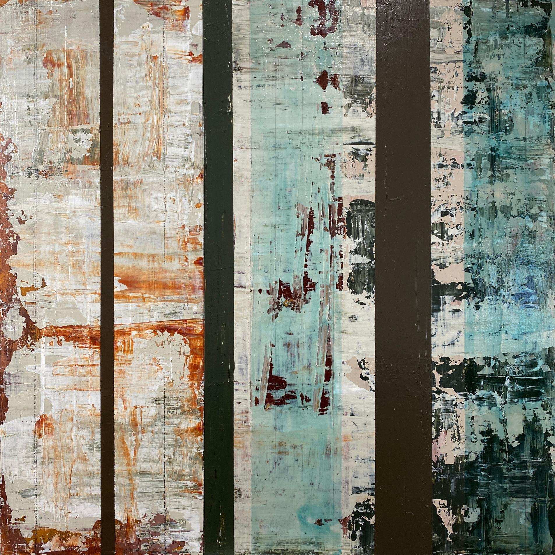 """""""Kiwanuka-Solid Ground"""", abstract, acrylic painting, graphite, rust, green, blue"""