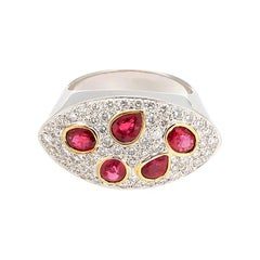 Shape Ruby Diamond Gold Ring
