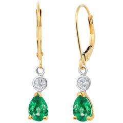 Shape Shape Emerald Diamond Drop Hoop Gold Earrings