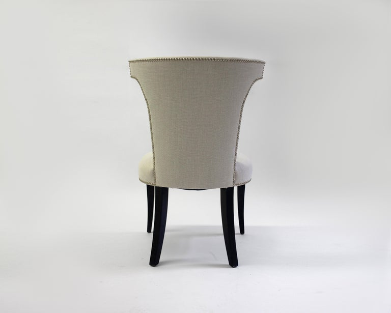 Shaped Curve Back Dining Side Chair with Self Button Detail and Nailhead Detail 2