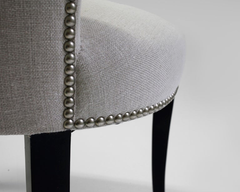 Shaped Curve Back Dining Side Chair with Self Button Detail and Nailhead Detail 3