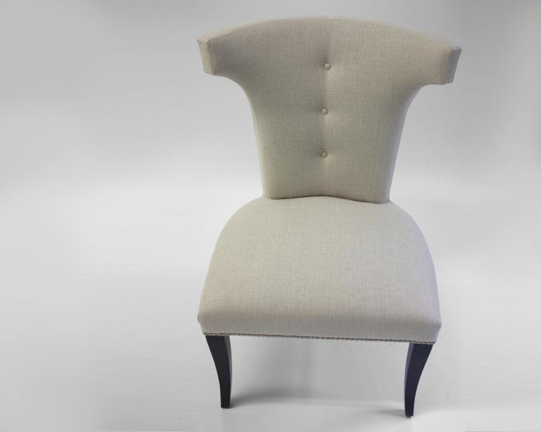 American Shaped Curve Back Dining Side Chair with Self Button Detail and Nailhead Detail For Sale
