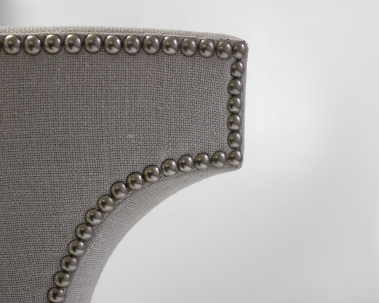 Shaped Curve Back Dining Side Chair with Self Button Detail and Nailhead Detail 5