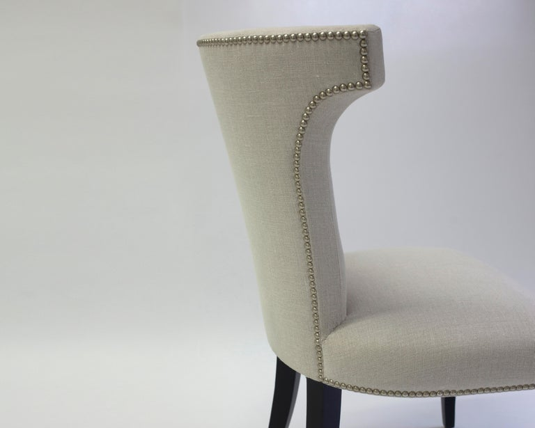 Shaped Curve Back Dining Side Chair with Self Button Detail and Nailhead Detail In New Condition For Sale In Brooklyn, NY