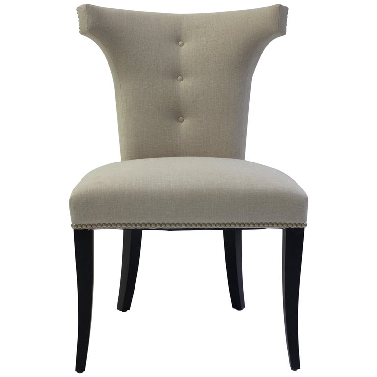 Shaped Curve Back Dining Side Chair with Self Button Detail and Nailhead Detail For Sale