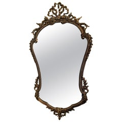 Shaped Louis XV Style Polished Bronze Mirror