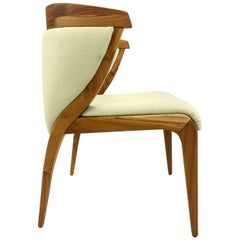 Shaped Mat Dining Chair in Teak with Fabric Seat and Back