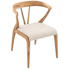 Shaped Mat Dining Chair in Teak with Open Back and Ivory Fabric Seat Cushion