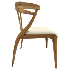 Shaped Mat Dining Chair in Teak with Open Back